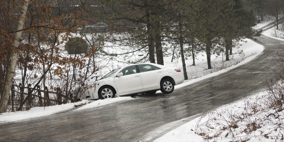 icy conditions leased car off road